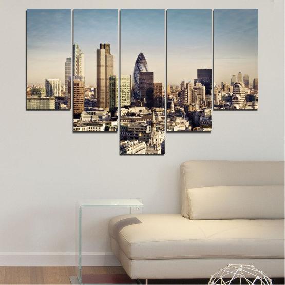 Canvas prints & wall decorative panels - 5 pieces №0450 » Black, Gray, Beige, Dark grey » Garden, View, Skyscraper, Capital, Great britain Form #6