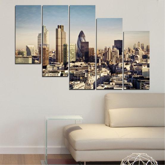 Canvas prints & wall decorative panels - 5 pieces №0450 » Black, Gray, Beige, Dark grey » Garden, View, Skyscraper, Capital, Great britain Form #7