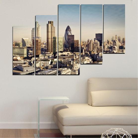 Canvas prints & wall decorative panels - 5 pieces №0450 » Black, Gray, Beige, Dark grey » Garden, View, Skyscraper, Capital, Great britain Form #8