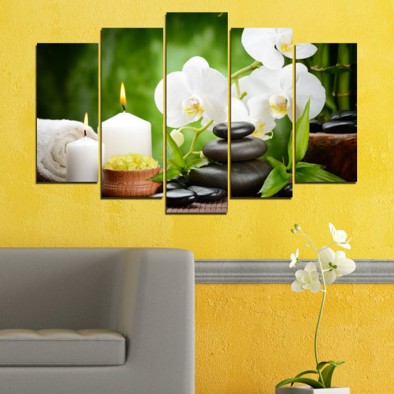 Canvas prints & wall decorative panels - 5 pieces №0451 » Green, Black, Gray, White » Flowers, Orchid, Feng shui, Stones, Spa, Zen, Candle Form #1