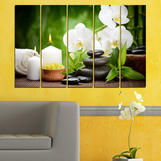 Canvas prints & wall decorative panels - 5 pieces №0451 » Green, Black, Gray, White » Flowers, Orchid, Feng shui, Stones, Spa, Zen, Candle Form #2