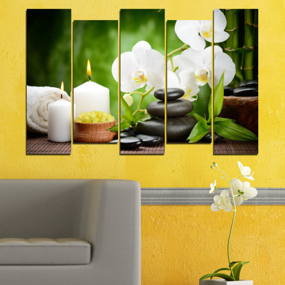Canvas prints & wall decorative panels - 5 pieces №0451 » Green, Black, Gray, White » Flowers, Orchid, Feng shui, Stones, Spa, Zen, Candle Form #3