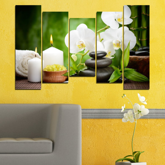Canvas prints & wall decorative panels - 5 pieces №0451 » Green, Black, Gray, White » Flowers, Orchid, Feng shui, Stones, Spa, Zen, Candle Form #4