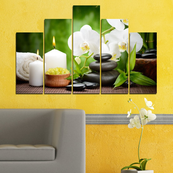 Canvas prints & wall decorative panels - 5 pieces №0451 » Green, Black, Gray, White » Flowers, Feng shui, Orchid, Stones, Zen, Spa, Candle Form #5