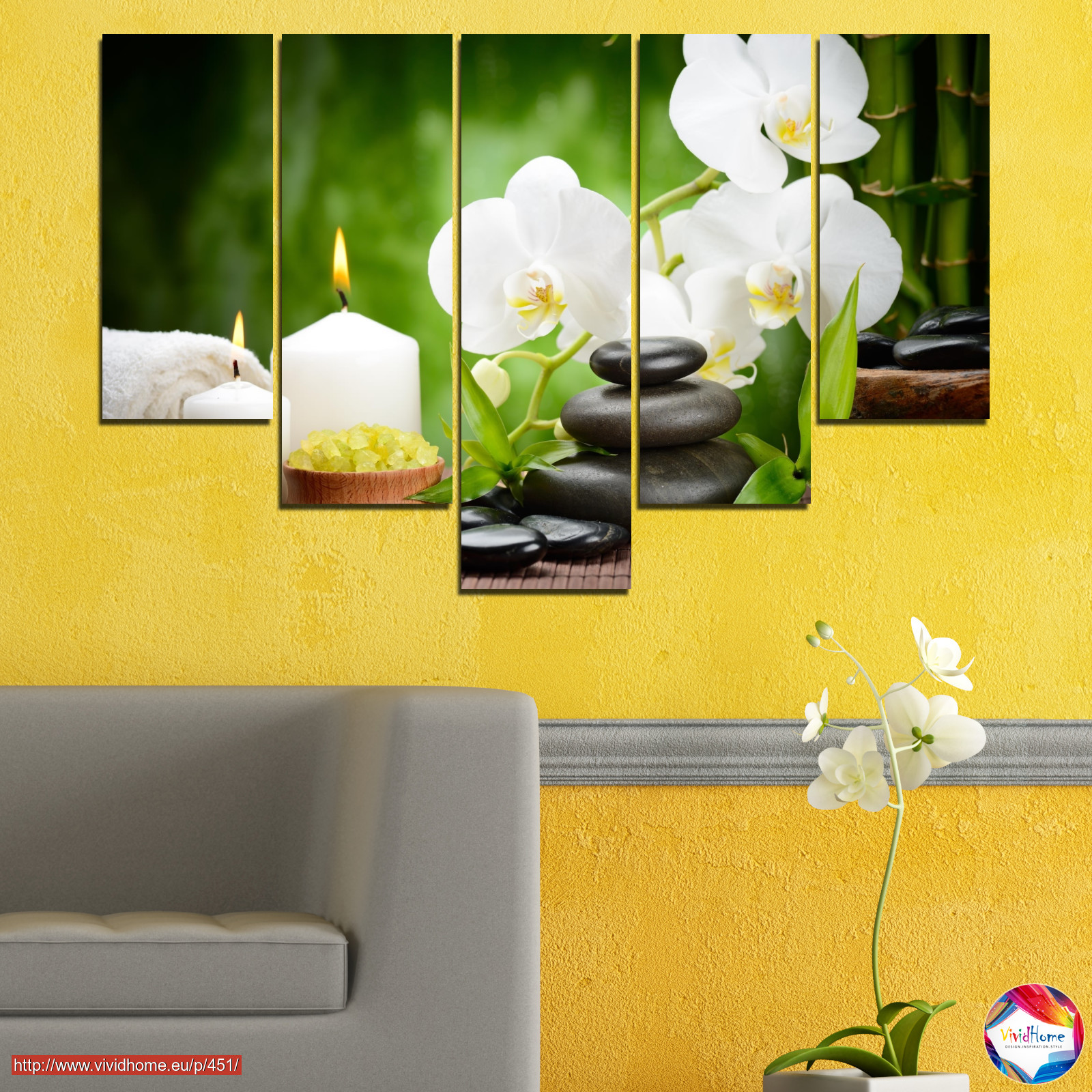 Flowers, Orchid, Feng shui, Stones, Zen, Spa, Candle №0451