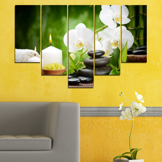 Canvas prints & wall decorative panels - 5 pieces №0451 » Green, Black, Gray, White » Flowers, Orchid, Feng shui, Stones, Spa, Zen, Candle Form #6