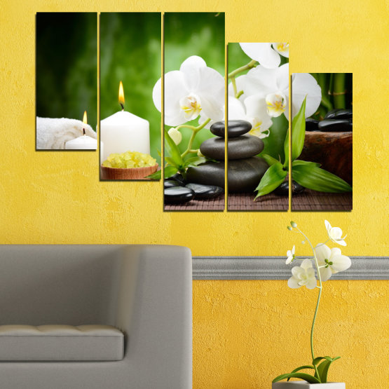 Canvas prints & wall decorative panels - 5 pieces №0451 » Green, Black, Gray, White » Flowers, Orchid, Feng shui, Stones, Spa, Zen, Candle Form #7