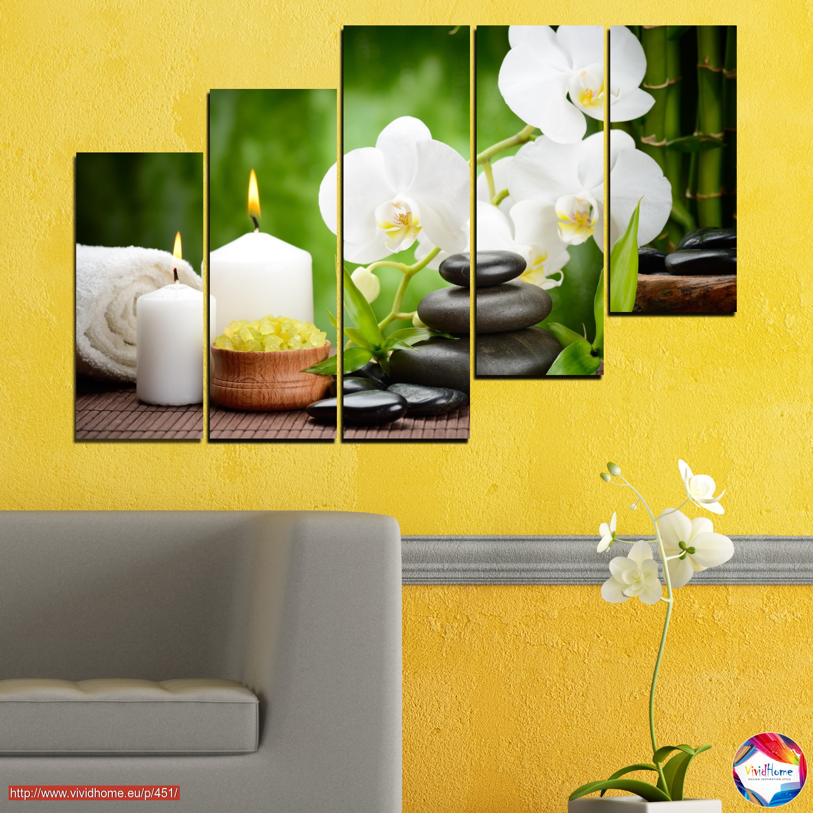 Orchid, Flowers, Feng shui, Zen, Stones, Spa, Candle №0451