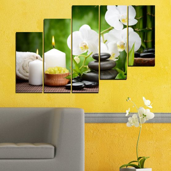 Canvas prints & wall decorative panels - 5 pieces №0451 » Green, Black, Gray, White » Flowers, Orchid, Feng shui, Stones, Spa, Zen, Candle Form #8