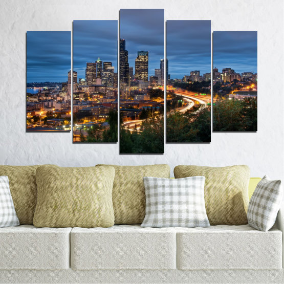Canvas prints & wall decorative panels - 5 pieces №0452 » Purple, Blue, Black, Gray, Dark grey » City, Lights, Night, Skyscraper, Usa, Washington Form #1