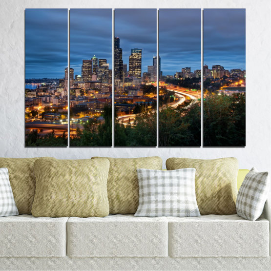 Canvas prints & wall decorative panels - 5 pieces №0452 » Purple, Blue, Black, Gray, Dark grey » City, Lights, Night, Skyscraper, Usa, Washington Form #2