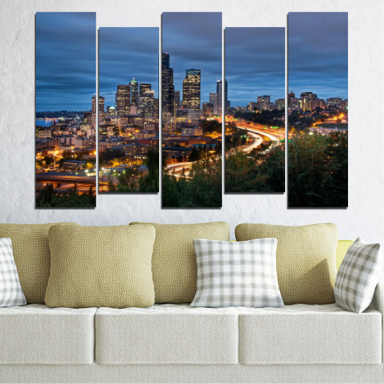 Canvas prints & wall decorative panels - 5 pieces №0452 » Purple, Blue, Black, Gray, Dark grey » City, Lights, Night, Skyscraper, Usa, Washington Form #3