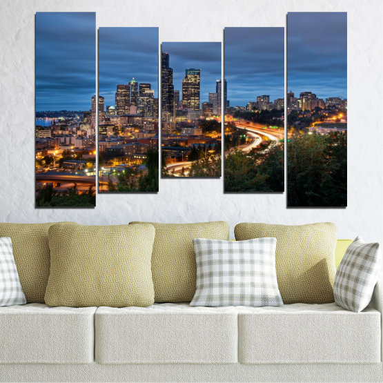 Canvas prints & wall decorative panels - 5 pieces №0452 » Purple, Blue, Black, Gray, Dark grey » City, Lights, Night, Skyscraper, Usa, Washington Form #4