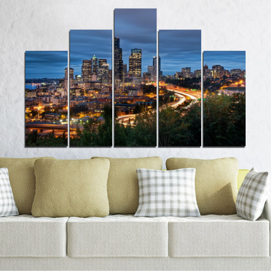 Canvas prints & wall decorative panels - 5 pieces №0452 » Purple, Blue, Black, Gray, Dark grey » City, Lights, Night, Skyscraper, Usa, Washington Form #5