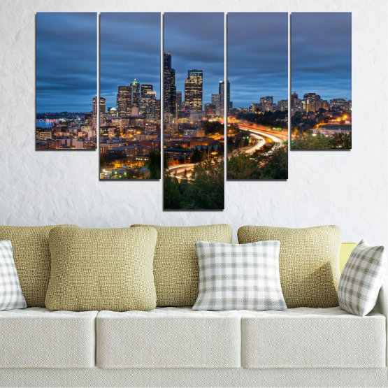 Canvas prints & wall decorative panels - 5 pieces №0452 » Purple, Blue, Black, Gray, Dark grey » City, Lights, Night, Skyscraper, Usa, Washington Form #6