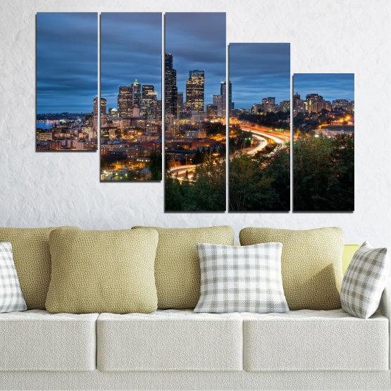 Canvas prints & wall decorative panels - 5 pieces №0452 » Purple, Blue, Black, Gray, Dark grey » City, Lights, Night, Skyscraper, Usa, Washington Form #7