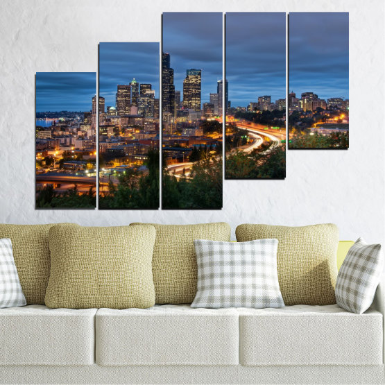 Canvas prints & wall decorative panels - 5 pieces №0452 » Purple, Blue, Black, Gray, Dark grey » City, Lights, Night, Skyscraper, Usa, Washington Form #8