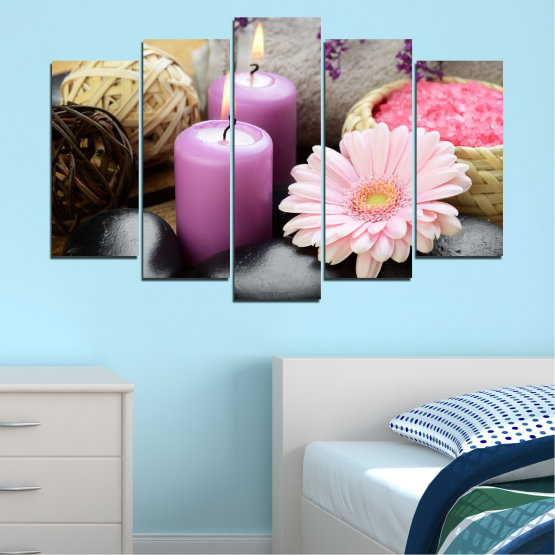 Canvas prints & wall decorative panels - 5 pieces №0453 » Black, Gray, Milky pink, Dark grey » Flowers, Feng shui, Stones, Zen, Spa, Gerbera, Candle Form #1