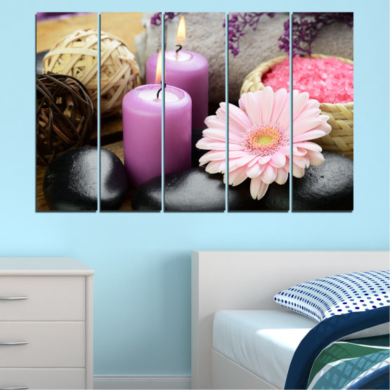 Canvas prints & wall decorative panels - 5 pieces №0453 » Black, Gray, Milky pink, Dark grey » Flowers, Feng shui, Stones, Zen, Spa, Gerbera, Candle Form #2