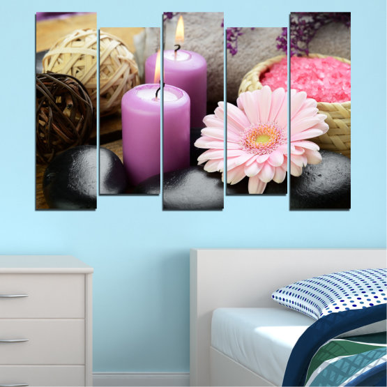 Canvas prints & wall decorative panels - 5 pieces №0453 » Black, Gray, Milky pink, Dark grey » Flowers, Feng shui, Zen, Stones, Spa, Gerbera, Candle Form #3
