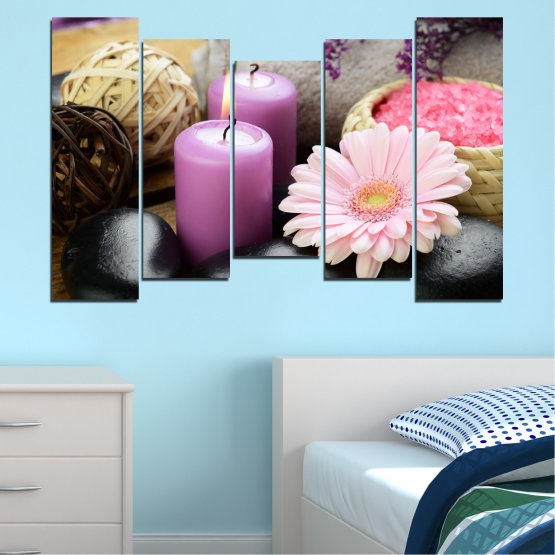 Canvas prints & wall decorative panels - 5 pieces №0453 » Black, Gray, Milky pink, Dark grey » Flowers, Feng shui, Zen, Stones, Spa, Gerbera, Candle Form #4