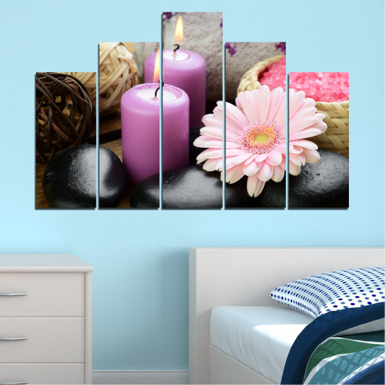 Canvas prints & wall decorative panels - 5 pieces №0453 » Black, Gray, Milky pink, Dark grey » Flowers, Feng shui, Stones, Zen, Spa, Gerbera, Candle Form #5