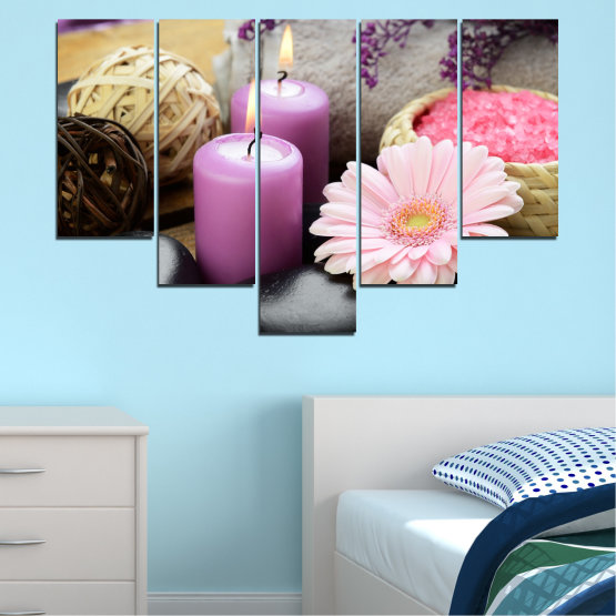 Canvas prints & wall decorative panels - 5 pieces №0453 » Black, Gray, Milky pink, Dark grey » Flowers, Feng shui, Stones, Zen, Spa, Gerbera, Candle Form #6