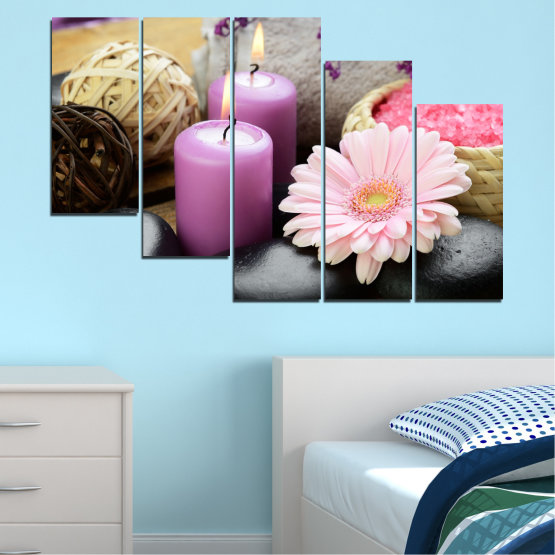Canvas prints & wall decorative panels - 5 pieces №0453 » Black, Gray, Milky pink, Dark grey » Flowers, Feng shui, Stones, Zen, Spa, Gerbera, Candle Form #7