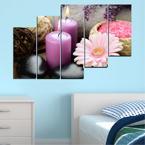 Canvas prints & wall decorative panels - 5 pieces №0453 » Black, Gray, Milky pink, Dark grey » Flowers, Feng shui, Stones, Zen, Spa, Gerbera, Candle Form #8