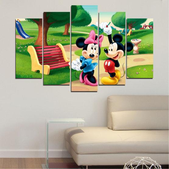 Декоративни панели и картини от канава - от 5 части №0454 » Зелен, Черен, Бежов » Детски, Анимационен, Мики маус Form #1