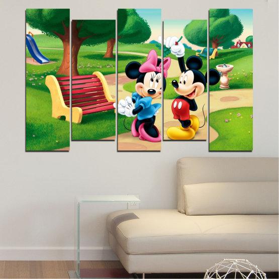 Декоративни панели и картини от канава - от 5 части №0454 » Зелен, Черен, Бежов » Детски, Анимационен, Мики маус Form #3