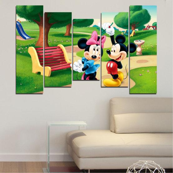 Декоративни панели и картини от канава - от 5 части №0454 » Зелен, Черен, Бежов » Детски, Анимационен, Мики маус Form #4