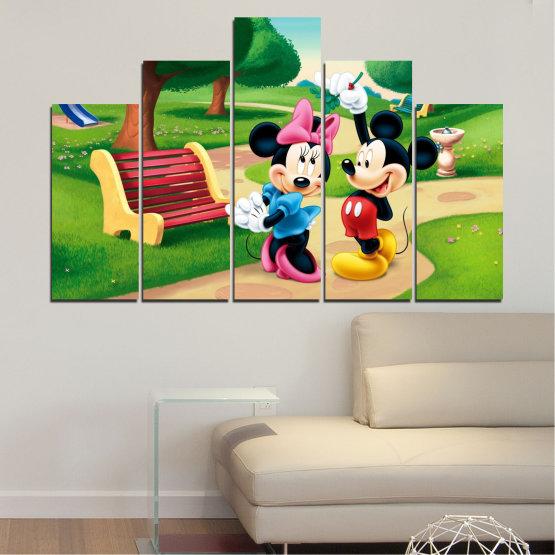 Декоративни панели и картини от канава - от 5 части №0454 » Зелен, Черен, Бежов » Детски, Анимационен, Мики маус Form #5