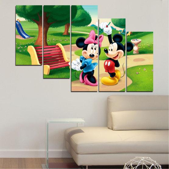 Декоративни панели и картини от канава - от 5 части №0454 » Зелен, Черен, Бежов » Детски, Анимационен, Мики маус Form #7