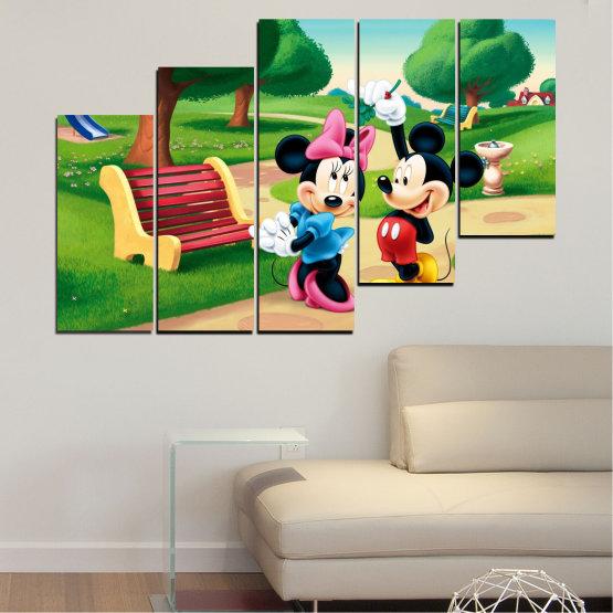 Декоративни панели и картини от канава - от 5 части №0454 » Зелен, Черен, Бежов » Детски, Анимационен, Мики маус Form #8
