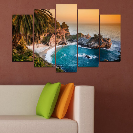 Canvas prints & wall decorative panels - 5 pieces №0455 » Brown, Black, Gray, Beige, Dark grey » Landscape, Nature, Sea, Water, Bay, Rocks Form #1