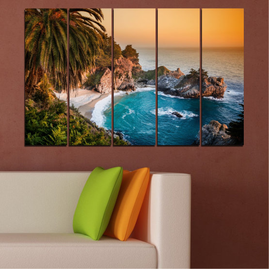 Canvas prints & wall decorative panels - 5 pieces №0455 » Brown, Black, Gray, Beige, Dark grey » Landscape, Nature, Sea, Water, Bay, Rocks Form #2