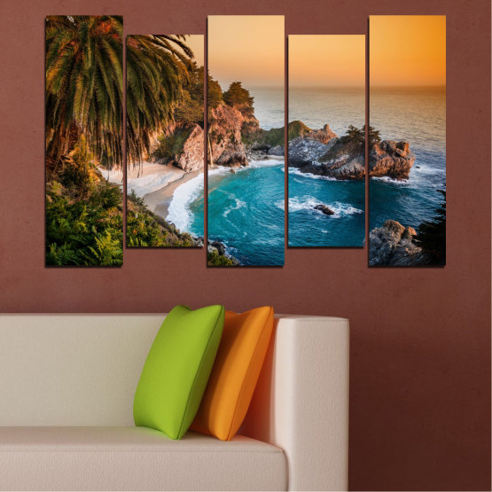 Canvas prints & wall decorative panels - 5 pieces №0455 » Brown, Black, Gray, Beige, Dark grey » Landscape, Nature, Sea, Water, Bay, Rocks Form #3