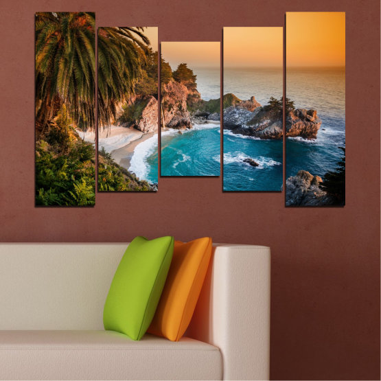 Canvas prints & wall decorative panels - 5 pieces №0455 » Brown, Black, Gray, Beige, Dark grey » Landscape, Nature, Sea, Water, Bay, Rocks Form #4