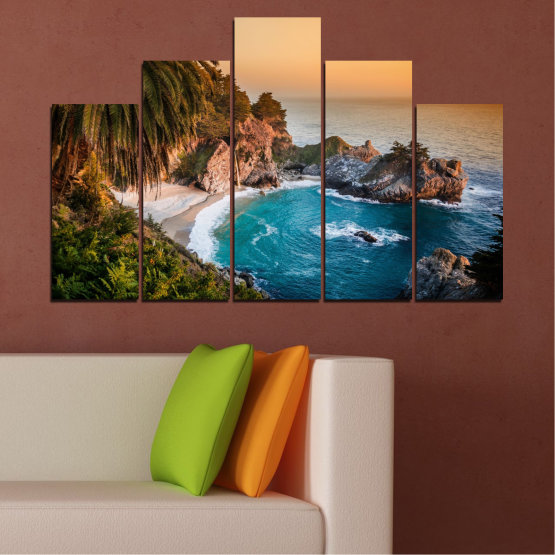 Canvas prints & wall decorative panels - 5 pieces №0455 » Brown, Black, Gray, Beige, Dark grey » Landscape, Nature, Sea, Water, Bay, Rocks Form #5