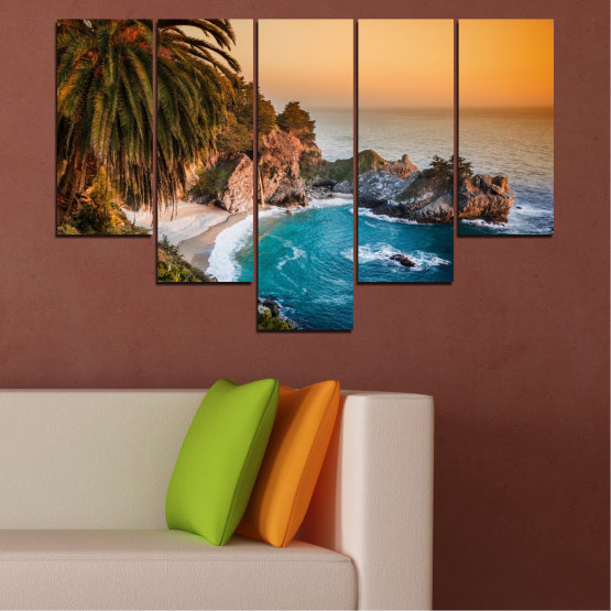 Canvas prints & wall decorative panels - 5 pieces №0455 » Brown, Black, Gray, Beige, Dark grey » Nature, Sea, Landscape, Water, Bay, Rocks Form #6