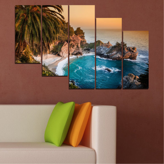 Canvas prints & wall decorative panels - 5 pieces №0455 » Brown, Black, Gray, Beige, Dark grey » Landscape, Nature, Sea, Water, Bay, Rocks Form #7