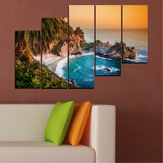 Canvas prints & wall decorative panels - 5 pieces №0455 » Brown, Black, Gray, Beige, Dark grey » Landscape, Nature, Sea, Water, Bay, Rocks Form #8