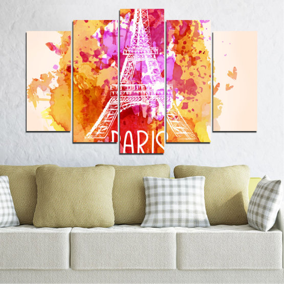 Canvas prints & wall decorative panels - 5 pieces №0456 » Red, Pink, Yellow, White, Beige » Collage, Landmark, Eiffel tower, Paris, France Form #1
