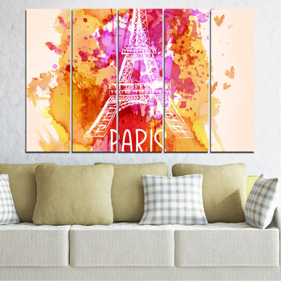 Canvas prints & wall decorative panels - 5 pieces №0456 » Red, Pink, Yellow, White, Beige » Collage, Landmark, Eiffel tower, Paris, France Form #2