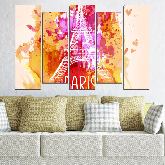 Canvas prints & wall decorative panels - 5 pieces №0456 » Red, Pink, Yellow, White, Beige » Collage, Landmark, Eiffel tower, Paris, France Form #3