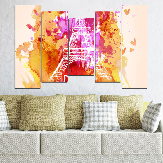 Canvas prints & wall decorative panels - 5 pieces №0456 » Red, Pink, Yellow, White, Beige » Collage, Landmark, Eiffel tower, Paris, France Form #4