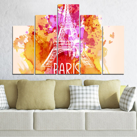 Canvas prints & wall decorative panels - 5 pieces №0456 » Red, Pink, Yellow, White, Beige » Collage, Landmark, Eiffel tower, Paris, France Form #5
