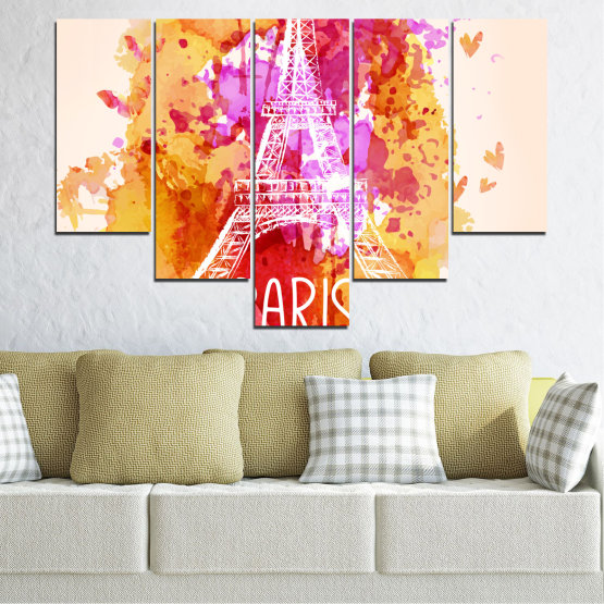 Canvas prints & wall decorative panels - 5 pieces №0456 » Red, Pink, Yellow, White, Beige » Collage, Landmark, Eiffel tower, Paris, France Form #6