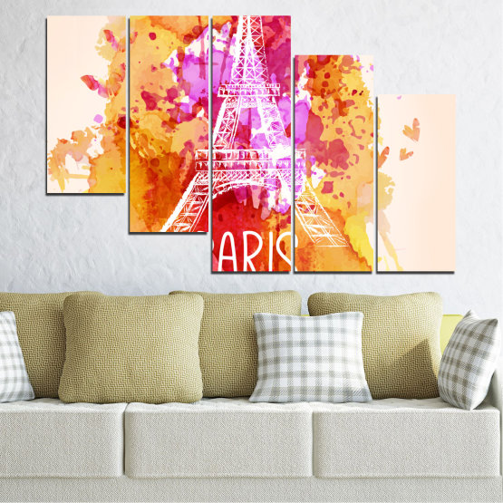 Canvas prints & wall decorative panels - 5 pieces №0456 » Red, Pink, Yellow, White, Beige » Collage, Landmark, Eiffel tower, Paris, France Form #7